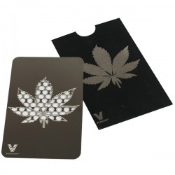 Grinder card Black and Silver decorated with a leaf
