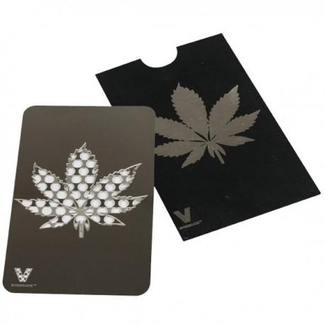 Grinder carte Noir et Argenté décoré d'une feuille