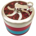 Grinder Window Manivelle Chrome-Rouge-Bleu 4 parties Ø60mm