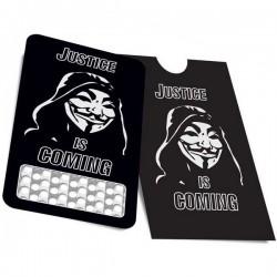 Un grinder tarjeta con la máscara de Anonymous