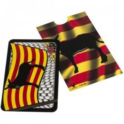 Grinder tarjeta con la bandera y el burro catalán