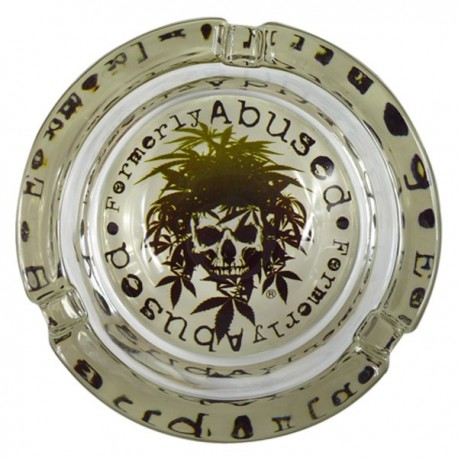 Ashtray decorated with leaves of cannabis
