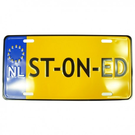 Plaque d'immatriculation STONED, imitation plaque Hollandaise