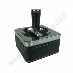 Ashtray push-button square pu leather with reserve.
