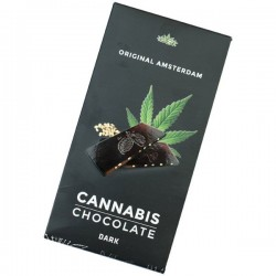 Bar of cannabis flavoured dark chocolate with hemp seeds
