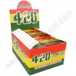 Filtres en carton 420 rasta, filtres en cazrton vert jaune rouge