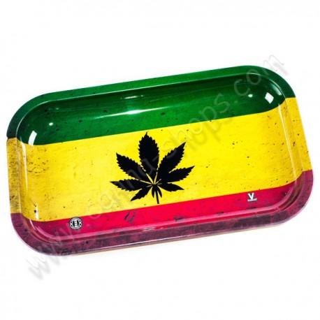 Plateau de roulage Feuilles de cannabis aux couleurs rasta