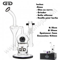 Bubbler Grace Glass Ball Recycler Noir Douille et dome inclus