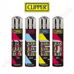 Lot de 4 Briquets Clipper imprimés W**D
