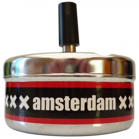 Cendrier poussoir en métal, logo Amsterdam