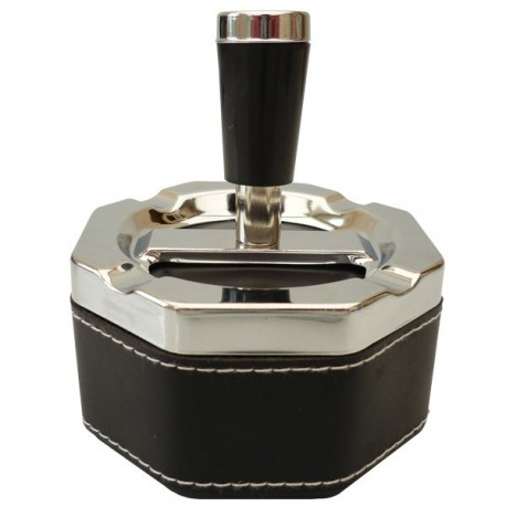 Ashtray octagonal faux leather with reserve.